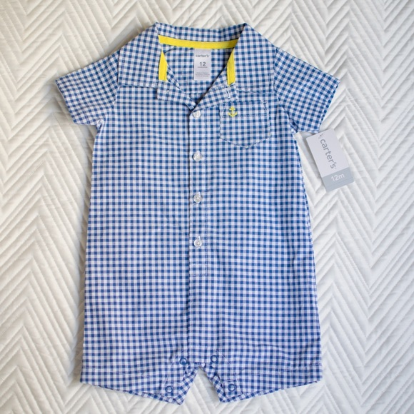 973eabbe0 Carter's One Pieces | Nwt Carters Baby Boy Gingham Romper | Poshmark